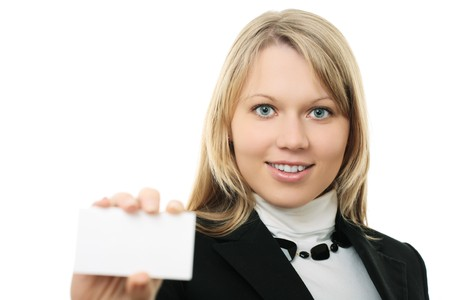 young business woman hold wisiting card on white background Stock Photo - 4249181