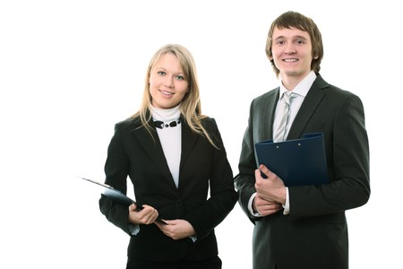 businessman and businesswoman on white background Stock Photo - 4249073