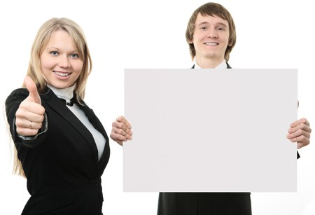 Two young people holding a white sign  on white background Stock Photo - 4249006