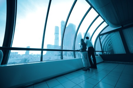 business inter from glass in blue Stock Photo - 4248760