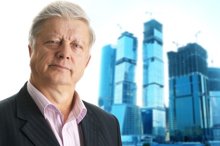 business man on glass buildings project Stock Photo - 4249400