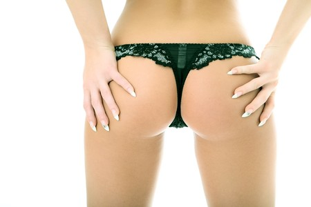 woman back in panties on white background Stock Photo - 4248712