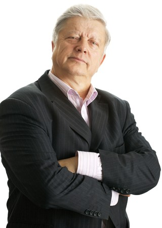 mature businessman over white background photo