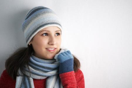 Beautiful Winter Woman on white background photo