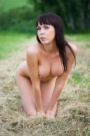 naked breast: beauty nude woman in nature Stock Photo