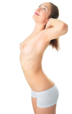beauty sexy nude woman on white background Stock Photo - 5526555