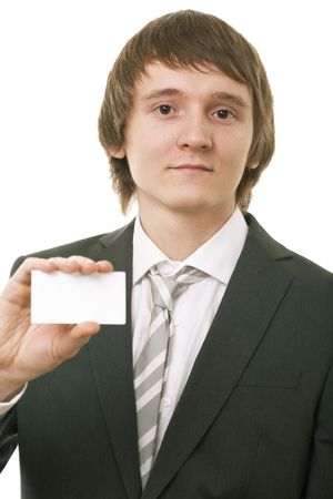 businessman show business card on white background Stock Photo - 5526605