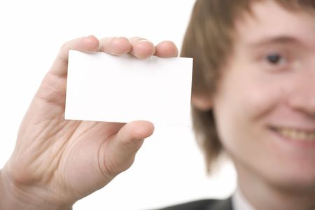 businessman show business card on white background Stock Photo - 5526795