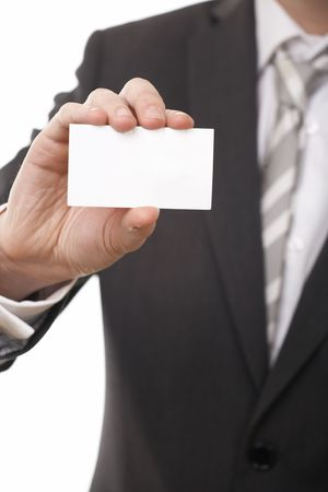 businessman show business card on white background Stock Photo - 5542269