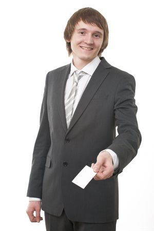 businessman show business card on white background Stock Photo - 5526338