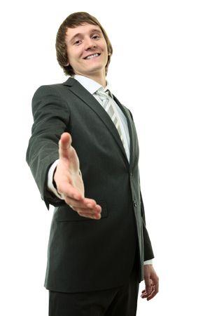 Businessman hold halp hand on whited background photo