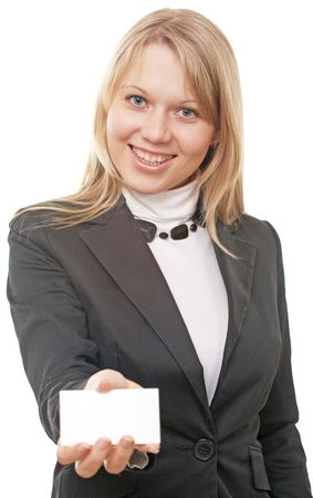businesswoman show business card on white background Stock Photo - 5526441