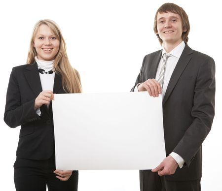 two young business people show white sign on white background Stock Photo - 5526538