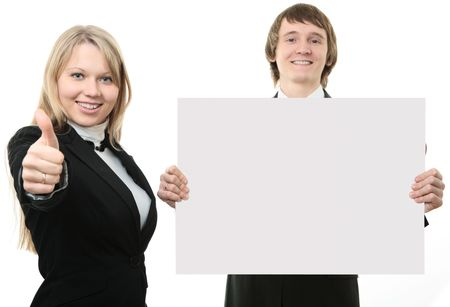 Two young people holding a white sign  on white background photo