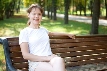 woman on bench in park Stock Photo - 5526282