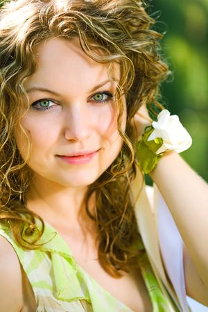 beauty woman outdoor close-up portrait Stock Photo - 5526696