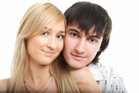 young couple man and woman on white background Stock Photo - 5526633