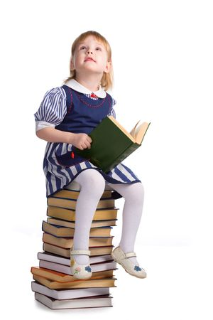 little baby with books isolated on white background Stock Photo - 5526477