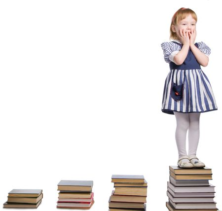 little baby with books isolated on white background Stock Photo - 5526302