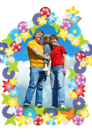 happy family stand on green grass under sky with clouds Stock Photo - 8360289