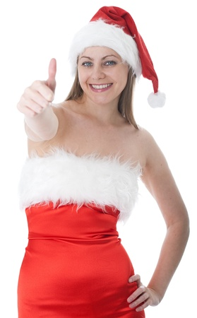 woman in red santa hat over white background photo