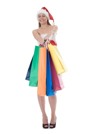 beauty girl in santa hat with color bag over white background Stock Photo - 8358621