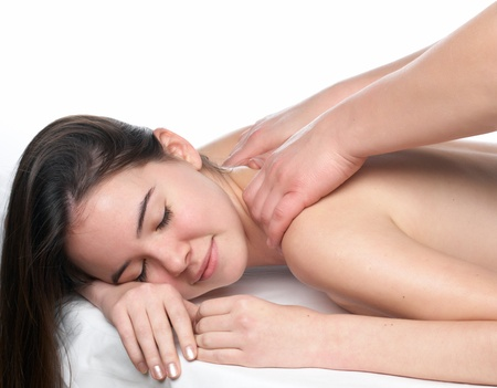 sensual massage: beauty young girl  day spa on white background