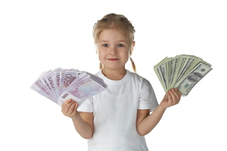 miser: little girl child with money over white background