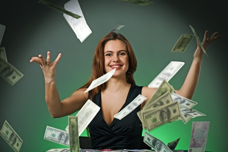 Poker player in casino with cards and chips on green background photo