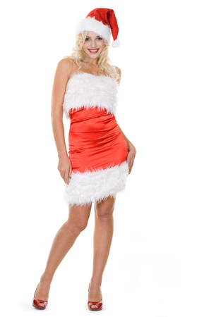 beauty blonde girl in santa hat over white background Stock Photo - 8358620