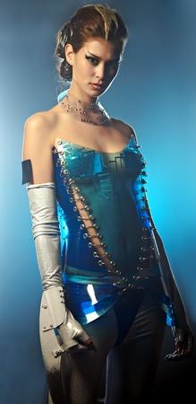 cyber girl: beauty alien woman in futuristic dress Stock Photo
