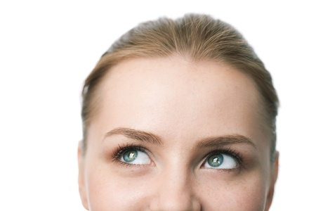 beauty close-up woman face over white background Stock Photo - 8359222