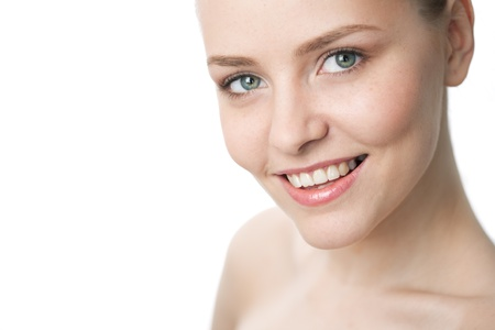 beauty close-up woman face over white background Stock Photo - 8358917
