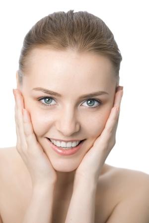bellezza donna closeup faccia su sfondo bianco Archivio Fotografico