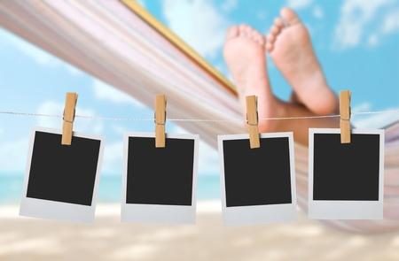 twiddle: child legs on hammock at sea beach