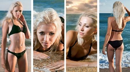 suntan: beauty woman on the sea over white background