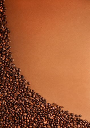 roaster: coffee beans stripes on brown background Stock Photo