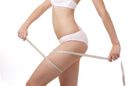 Slim perfect woman body on white background Stock Photo - 9759030