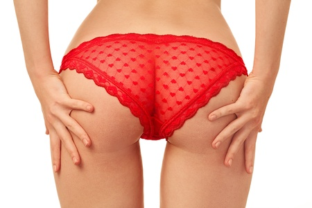 woman back in red panties over white background Stock Photo - 9759712