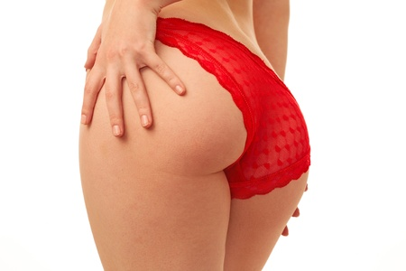woman back in red panties over white background photo