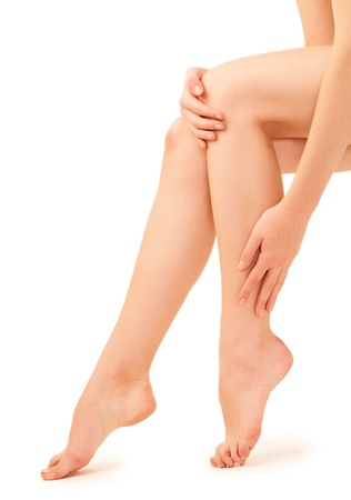 woman legs over white background photo