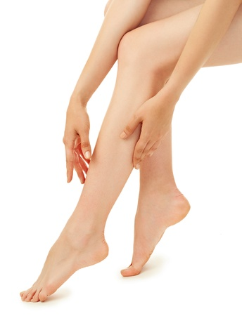 woman leg over white background Stock Photo