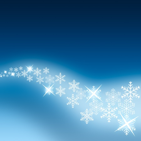 Abstract Christmas background with white snowflakes  Stock Photo