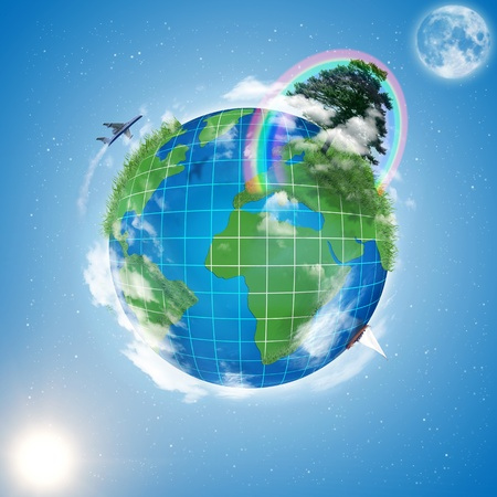 model of Earth and moon with stars Stock Photo - 10021098