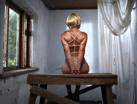 beauty woman bondage on the table
