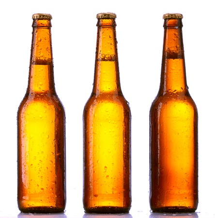 dewed: bottle beer isolated on white background Stock Photo