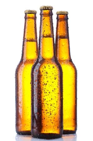 dewed: bottle beer isolated on white background Stock Photo