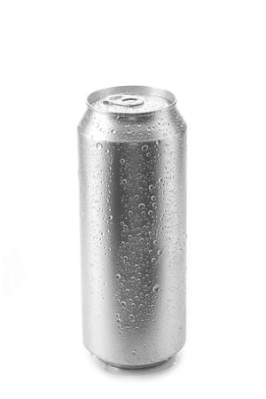 bier kan op een witte achtergrond Stockfoto