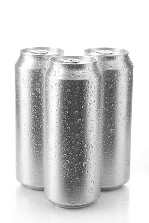 carbonated drink: beer can isolated on white background Stock Photo