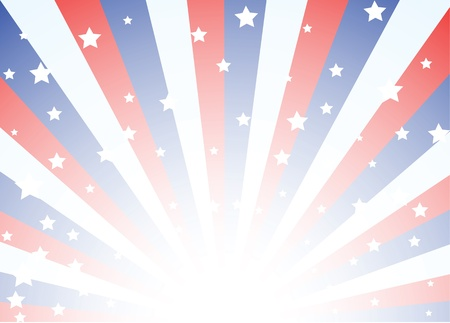 patriotic usa: Background featuring red white and blue stripes with stars
